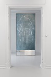 The tower, 2017, oil pastel, chalk and oil paint on linen canvas, mirror, oak frame, 300x130cm. Photo by Istvan Virag.